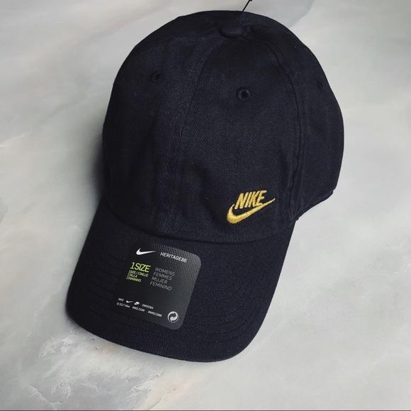 Nike Black + Mini Gold Logo Dad Hat d0964cd9d41